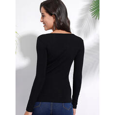 Solid Round Neck Long Sleeves Casual Basic Knit T-shirts