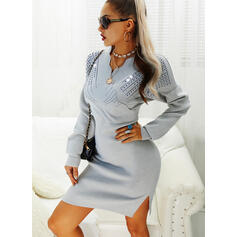 Sequins Long Sleeves Bodycon Knee Length Casual/Elegant Sweater/Pencil Dresses