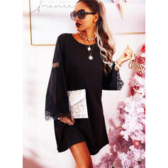 Lace/Solid Long Sleeves/Flare Sleeves Shift Above Knee Little Black/Casual Tunic Dresses