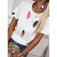 Print Feather Round Neck Short Sleeves T-shirts