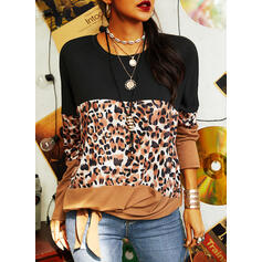 Color Block Leopard Round Neck Long Sleeves Dropped Shoulder Casual Blouses