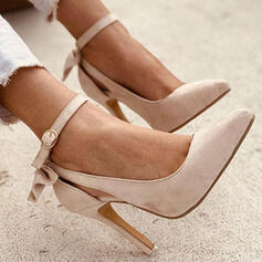 Women's PU Stiletto Heel Pumps Closed Toe Pointed Toe With Bowknot Buckle Solid Color shoes
