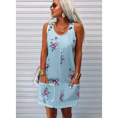 Print/Floral Sleeveless Shift Knee Length Casual Tank Dresses