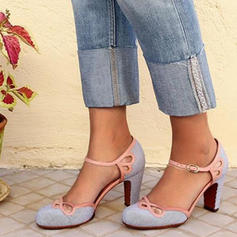 Women's PU Chunky Heel Pumps Closed Toe With Buckle Hollow-out shoes