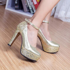Leatherette Chunky Heel Closed Toe Platform Pumps With Sparkling Glitter