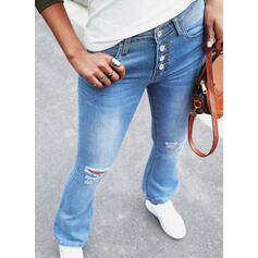 Casual Vacation Pocket Shirred Ripped Button Pants Denim & Jeans