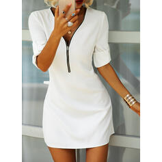 Solid Long Sleeves Shift Above Knee Little Black/Casual/Elegant Tunic Dresses