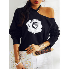 Print Floral One-Shoulder Long Sleeves Casual Blouses