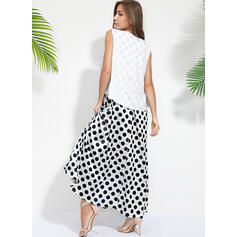 PolkaDot Sleeveless Shift Casual Maxi Dresses