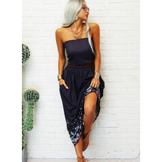 Print/Floral Sleeveless A-line Skater Casual Maxi Dresses