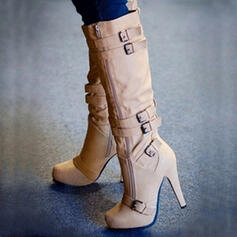 Women's Suede Stiletto Heel Boots Mid-Calf Boots With Solid Color shoes