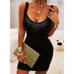Sequins Sleeveless Bodycon Above Knee Little Black/Sexy/Casual Dresses