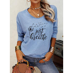 Print Dandelion Letter Round Neck Long Sleeves Casual T-shirts