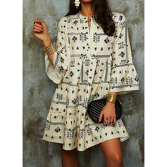 Print Long Sleeves/Flare Sleeves Shift Above Knee Casual Dresses