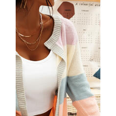 Color Block Chunky knit Casual Cardigan