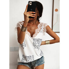 Print Lace Figure V-Neck Sleeveless Casual Tank Tops