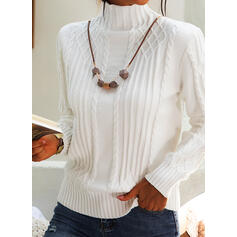 Solid Cable-knit Turtleneck Casual Tight Sweaters