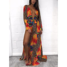 Floral Long Sleeve V-Neck Sexy Cover-ups Swimsuits