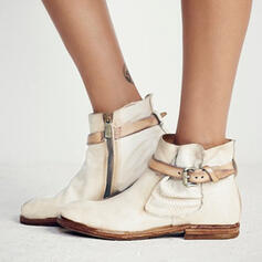 Women's PU Flat Heel Flats Boots Ankle Boots With Buckle shoes
