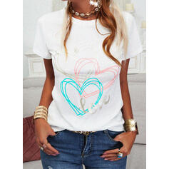 Heart Print Letter Round Neck Short Sleeves T-shirts