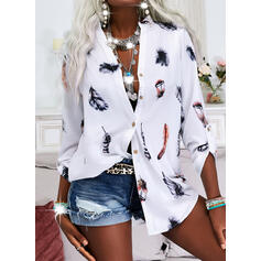 Print Feather V-Neck Long Sleeves Casual Blouses