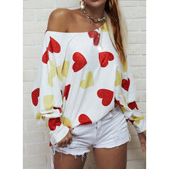 Print Heart One-Shoulder Long Sleeves Casual Knit Blouses