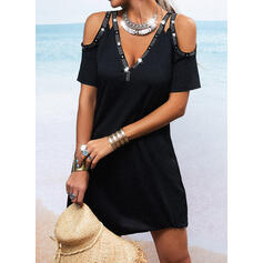 Sequins/Solid/Beaded Short Sleeves Sheath Above Knee Little Black/Casual Dresses