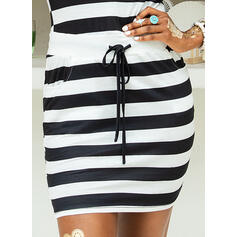 Striped Sleeveless Bodycon Above Knee Casual Dresses