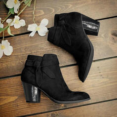 Women's PU Chunky Heel Boots Ankle Boots Pointed Toe With Buckle Zipper Solid Color shoes
