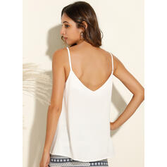 Backless Solid Spaghetti Straps Sleeveless Tank Tops