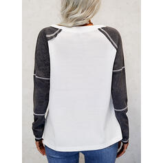 Print Color Block Lace-up Letter V-Neck Long Sleeves Casual Knit Blouses