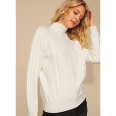Solid Cable-knit Turtleneck Sweaters