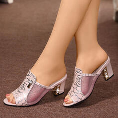Women's Microfiber Leather Low Heel Sandals Slippers With Sequin shoes