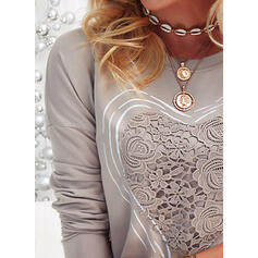 Heart Lace Print Round Neck Long Sleeves T-shirts