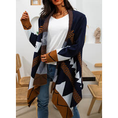 Print Chunky knit Casual Long Cardigan