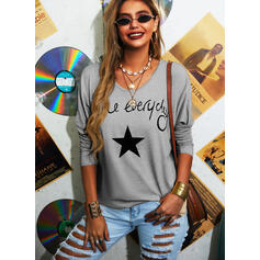 Print Letter Round Neck Long Sleeves T-shirts