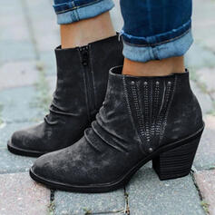 Women's PU Chunky Heel Boots Martin Boots Round Toe With Rivet Zipper shoes