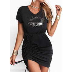 Sequins/Solid Short Sleeves Sheath Above Knee Little Black/Casual Dresses