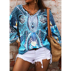 Print V-Neck Flare Sleeve Long Sleeves Casual Blouses