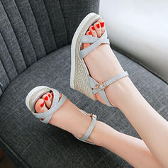 Women's Sparkling Glitter Wedge Heel Sandals Wedges Peep Toe Slingbacks With Buckle shoes