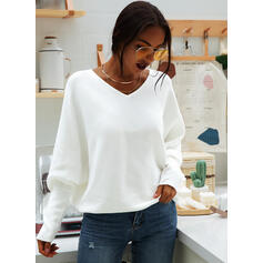 Solid V-Neck Batwing Sleeve Long Sleeves Casual Knit Blouses