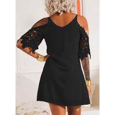 Lace/Solid 3/4 Sleeves Shift Above Knee Little Black/Party/Elegant Tunic Dresses