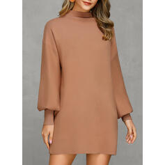 Solid Ribbed Chunky knit Round Neck Casual Long Sweater Dress