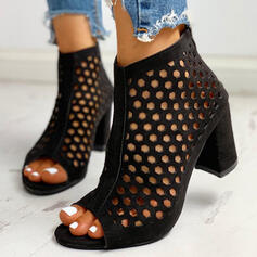Women's Suede Chunky Heel Pumps Peep Toe With Hollow-out shoes