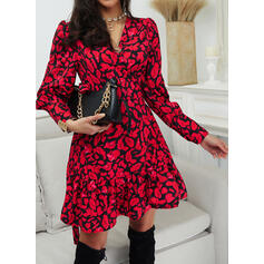 Print Long Sleeves/Puff Sleeves A-line Above Knee Casual Wrap/Skater Dresses