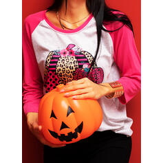Print Leopard Round Neck Long Sleeves Halloween T-shirts