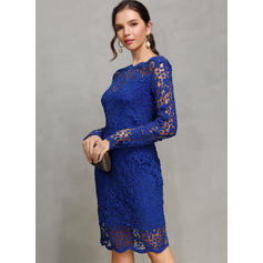 Lace/Solid Long Sleeves Bodycon Above Knee Casual/Party Dresses