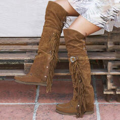 Women's Suede Flat Heel Boots Knee High Boots With Buckle Tassel shoes