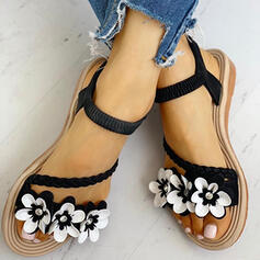Women's Suede Flat Heel Sandals Peep Toe With Flower shoes