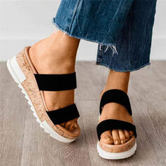 Women's Cloth Wedge Heel Sandals Wedges With Splice Color shoes